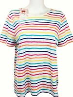 Edition Basic Size XL Top T Shirt Striped Rainbow MultiColor 100% Cotton Holiday