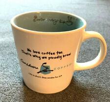 "CARIBOU COFFEE 2011 Ceramic 16 ounce Coffee Mug - ""We Love Coffee Too"""