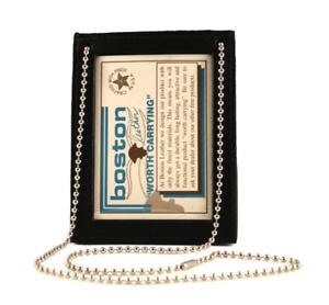 Boston Leather 5982-1 Neck Chain Double 2 ID Holder Black 2 I.D. Holderno Badge