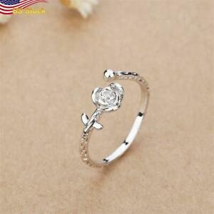 Fashion 925 Silver Plated Rose Flower Adjustable Open Ring Women Gift