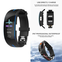 BLUE ECG+PPG Smart Wrist Watch Bluetooth Fitness TrackerBlood Pressure for Phone