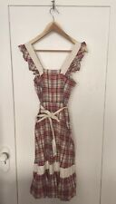 VINTAGE Apron Red Plaid Button Down Ruffle Sleeve Mid Length Dress Sz XS