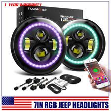 "Fit Jeep Wrangler JK TJ LJ Halo RGB 7"" inch LED Headlights DRL Lights Combo KIT"