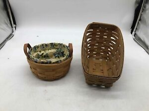 2 Longaberger Baskets/1 Yellow/Blue Floral Liner