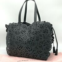 NWT AUTH $675 Sophia Webster Liara Canvas Laser-Cut Butterfly Black Tote Bag