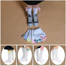 3 Pairs of Girls Chic Ankle Socks With Checked Coloured Ribbons Bows UK Sizes