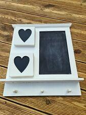 White Wooden Blackboard Wall Hanging Chalk Message Board Storage Hooks Shelf