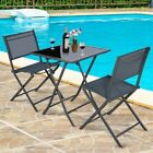 3pcs Bistro Set Garden Backyard Table Chairs Outdoor Patio Furniture Folding New