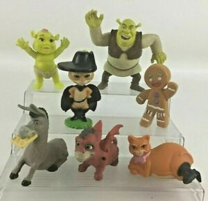 Shrek Forever After McDonald's Figures Puss In Boots Donkey 7pc Lot Gingy  2010