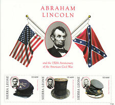 Sierra Leone 2011 MNH Abraham Lincoln & American Civil War 150th 3v M/S Stamps