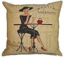 "NEW 18"" 45CM FEMME ELEGANTE SERIES, MARTINI COCKTAIL TAPESTRY CUSHION COVER 4481"