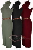 Ladies Polo Turtle Neck Sleeveless Fine Jersey Party Casual Midi Length Dress.