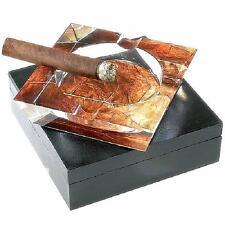 "TOBACCO LEAF Clear Crystal 4 Cigar Ashtray ""PERFECT"" Man Cave Item - SHIPS FREE"