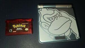 Nintendo Gameboy Advance Sp Custom Steel Blue Donkey Kong with POKEMON RUBY!!