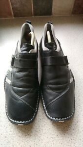 Camel active black leather casual slip on shoes size 9