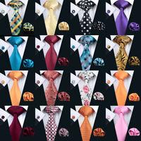 Barry Wang Red Black Blue Mens Tie Paisley Stripe Silk Necktie Set Wedding Party