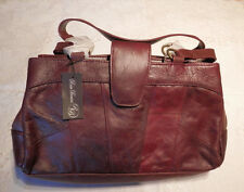 BAG LEATHER ROSA BENINI HAND SINGLE CENTRE ZIP OPEN FRONT/REAR STUDDED RED BROWN
