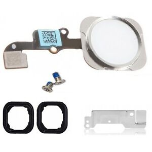 Home Button For iPhone 6 & 6 Plus Menu Button White & Silver With Flex Cable