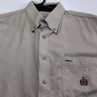 Vintage Bugle Boy Men's Short Sleeve Button Up Shirt Medium M Brown Crest Casual