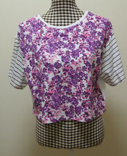 ALL ABOUT EVE TOP MULTI PRINT FLORAL STRIPES CROP TOP, Sz 12 NWT