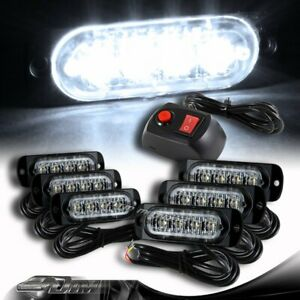 6X Super Bright 4-LED White Emergency Flash Warn Beacon Strobe Light Universal 6
