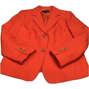 Talbots Women's Petite 16 Blazer Jacket Bright Orange Red Button Pockets Classic