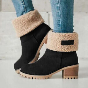 Womens Casual Suede Round Toe Mid Calf Boots Winter Warm Fur Lined Snow Shoes