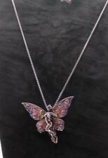 HALLMARKED STERLING SILVER AND ENAMEL BUTTERFLY LADY BROOCH/PENDANT AND CHAIN