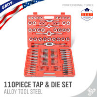 110 Piece Combination Tap And Die Set Screw Extractor Remover Chasing w/Case