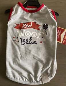 """AMERICAN KENNEL CLUB Gray """"RED WOOF & BLUE"""" PATRIOTIC T-SHIRT Puppy/Dog SMALL"""