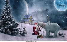 Weihnachtsmann, Polarbär,Bild auf Leinwand/  Weihnachtsmann 1L_1087