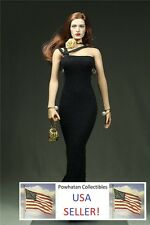 1/6 Scale BLACK PEARL Custom Dress Gown Fits Phicen Female Large Bust Figure