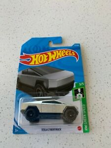Hot Wheels Tesla Cybertruck Brushed Silver #177 177/250 2021 HW Green Speed 3/5