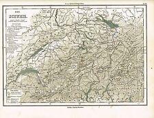Karte der SCHWEIZ, Original-Graphik 1874