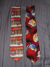 2 CHRISTMAS NECK TIES SATURDAY EVENING POST & AMERICAN GREETING FOOTBALL SANTA