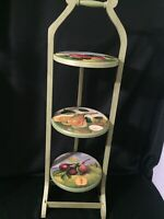 Vintage Painted Fruit 3 Tiered High Tea/Pie/ Muffin/ Cake Folding Stand