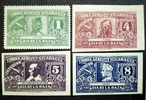 Nicaragua 1937 For Domestic Postage Complete Set Perf & Imperf - 4v MNG