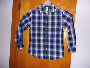 """BRAND NEW """"BOY'S FADED GLORY  BUTTON FRONT L/S BLUE PLAID COLOR  SHIRT"""