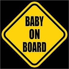 "BABY ON BOARD Child Safety Window Yellow Vinyl Decal/Sticker 5.5""H"