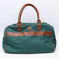 Polo Ralph Lauren Fragrance Overnight Bag Green Nylon Canvas Brown Trim Zip