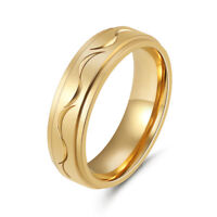 18K Gold Plated Stainless Steel Wedding Engagement Band Rings Jewelry Size 6-10