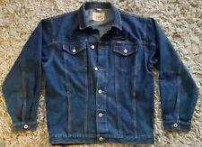 PACE Mens L Jeans Jacket Trucker Style Dark Wash Denim Coat Western Cotton Blue