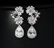 5ct Russian CZ Dangle Drop Earrings Cubic Zirconia halo white flower bridal gift
