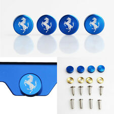 Laser Etched 4pc Blue Aluminum Ferrari License Plate Frame Fastener Screws Cap