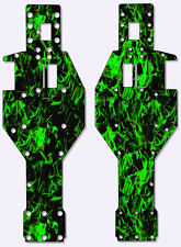Traxxas Rustler - Chassis Plate Protector Kit - Dark Green Flames TRA4430