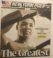 MUHAMMAD ALI  NEW YORK POST TRIBUTE NEWSPAPERS 2016 1942-2016