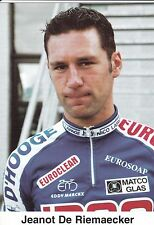 CYCLISME carte cycliste JEANOT DE RIEMAECKER équipe IPSO eurosoap euroclean