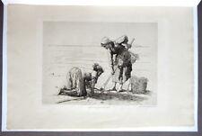 BILLET (P.) : Pêcheuses au bord de la mer, eau-forte originale,1878,NORMANDIE