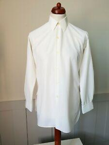 Vintage NYLFRANCE 1960s Single Cuff Shirt in White Nylon Mod French *M* TD35