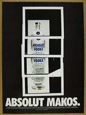 1999 Absolut MAKOS Christopher Makos bottle photo artwork vintage print Ad
